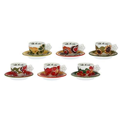 THUN ® - Set 6 tazzine caffè Happy per tè, caffè, tisana - Porcellana - 100 ml - Ø 6 cm