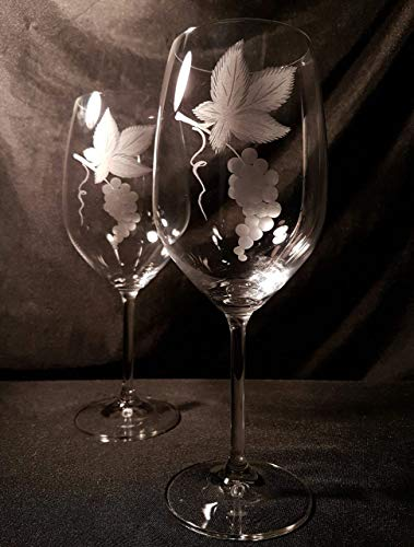 Copas Bohemia Vino Talladas a Mano con Estuche de lujo.(mod. Gastro talla Racimo)
