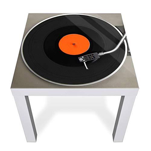banjado Glasplatte für IKEA Lack Tisch 55x55cm | Abdeckplatte aus Sicherheitsglas | Motiv Plattenspieler | Tischplatte für Beistelltisch, Sofatisch weiß Glasplatte & Tisch
