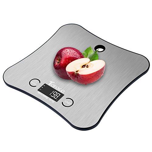 TOFOCO Küchenwaage digital Waage Backen Food Scale, 1-5kg/ml Tara Multifunktionswaage Elektronische Waage Küchen Klein Digitale Küchenwaage LCD Display (Silber)