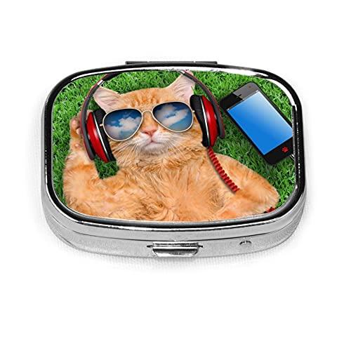 Cat Wearing Sunglasses Custom Fashion Silver Square Pill Box Medicine Tablet Holder Wallet Organizer Case For Pocket Or Purse Vitamin Organizer Holder Decorative Box