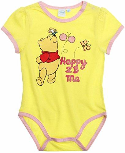 Body bébé fille manches courtes Winnie l'ourson Jaune/rose de 3 à 23mois (12mois)