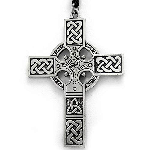 Pewter Large Celtic Knotwork Irish Cross Pendant
