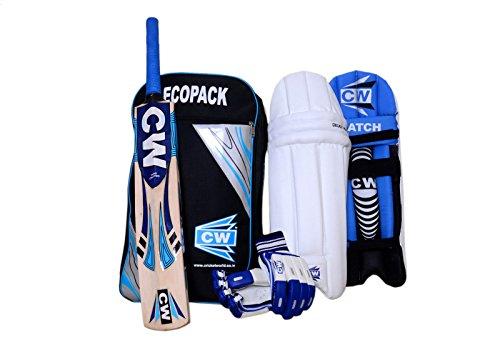 """CW Junior deporte Cricket Kit azul tamaño nº 04Set con Cachemira sauce bate de, guantes de bateo críquet con Ecopack Kit de hombro bolsa ideal para de 7""""-8"""" año niño"""