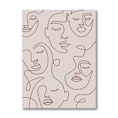Mujer Cara Solo Línea Dibujo Arte Impresiones Minimalista Pared Arte Abstracto Poster Feminista Lienzo Pintura Salon Habitación Cuadros Decoracion 40x60cm No Enmarcado