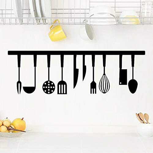 Kitchen Tools Wall Stickers Vinyl Cooking Utensil Wall Decal Removable Knife Fork Spoon Restaurant product image