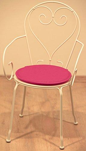 Générique Dessus Chaise Ronde Les 2 Fushia Traitement Special Exterieur Resistant AU UV Anti Tache DEPERLANT Jardin BISTROT Galette