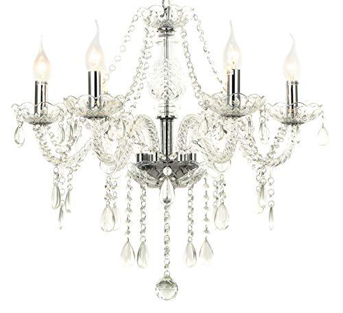 Ø55cm vetro cristallo lampadario classico sospensione candeliere luce 80cm(A) 6-bracci Lewima VITROLA