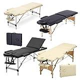3 Zonen Mobile Massageliege klappbar Massage Kosmetik Bank Ttisch klappbar Höhenverstellbare Aluminiumfüße Massagebank (bis 230kg belastbar) - Schwarz