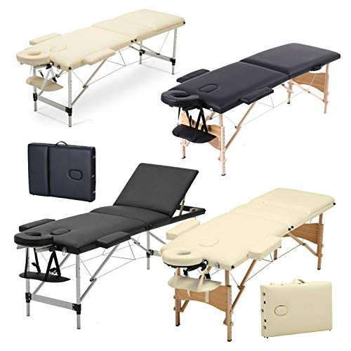 3 Zonen Mobile Massageliege klappbar Massage Kosmetik Bank Ttisch klappbar Höhenverstellbare Holzfüßen Massagebank (bis 230kg belastbar) - Schwarz