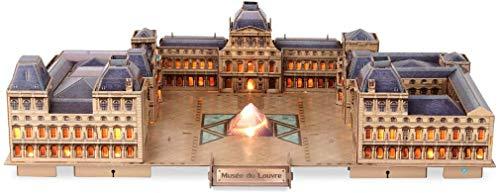 MUANSER 137 Piezas 3D Night The Louvre LED Puzzles para Adultos, Rompecabezas de Edificios de fama Mundial, Regalos para niños y Adultos en cumpleaños/día de Navidad