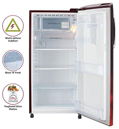 LG 190L 5 Star Smart Inverter Direct-Cool Single Door Refrigerator (GL-B201ASCZ, Scarlet Charm, Fastest Ice Making) 3