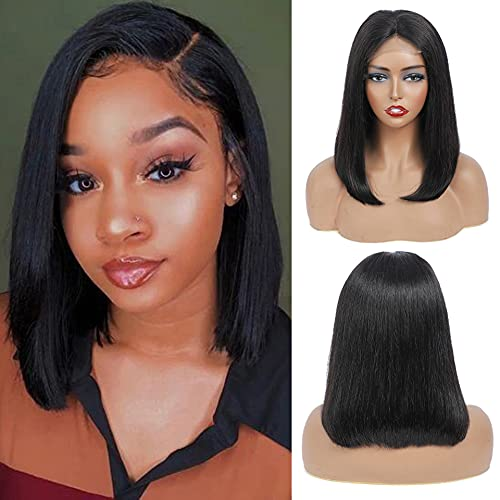 Short Inexpensive Elegant Straight Bob Lace Front Wigs Baby Human With Hair 4x4