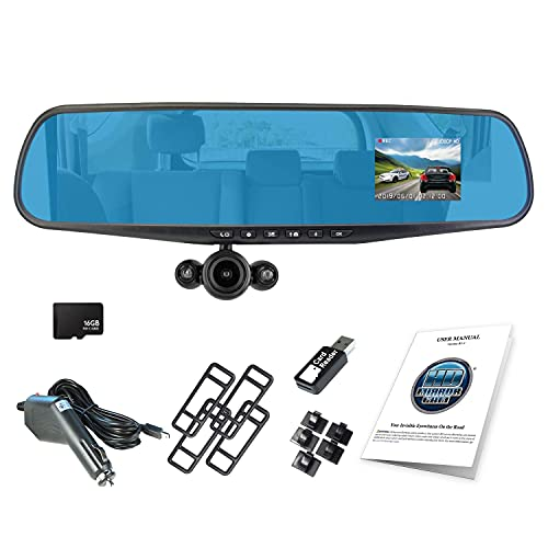 """Official HD Mirror Cam (Real 1080p High-Definition Dash Cam - 16GB Micro SD Card) As Seen on TV, 350° 2.5"""" LCD Motion Detection Dashboard Camera Video Recorder, Loop Recording, Night-Mode"""