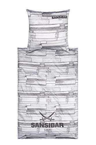 Sansibar, set di biancheria da letto in raso, 2 pezzi, copripiumino 135 x 200 cm, federa 80 x 80 cm, design in legno, grigio chiaro