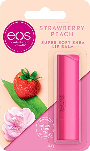 Eos Flavor Strawberry Peach Lip Balm, Feuchtigkeitsspendende Lippenpflege Mit Erdbeer- Und Pfirsich Geschmack, Für Weiche Lippen, Mit Natürlicher Sheabutter, 4g