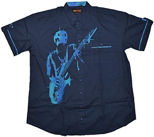 Übergrößen !!! WOW !!! Schickes Kurzarm Hemd KAMRO mit Guitar-Hero-Print 4XL