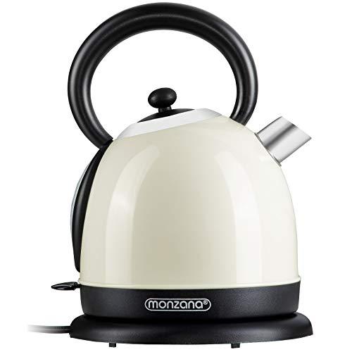 Monzana Retro Wasserkocher Edelstahl BPA frei 1,8 Liter 2200W Überhitzungsschutz Teekocher Teekessel Kocher Creme