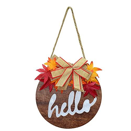 Zuoye Willkommensschild aus Holz mit Lichtern und Halloween-Thema, hängendes Ornament für Haus, Garten, Veranda, Dekoration