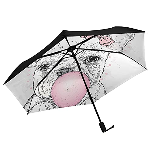 Oyihfvs Cute French Bulldog Puppy with Pink Gum Inner Print Folding Umbrella, Strong Lightweight Travel Rain Umbrella, Portable Compact Sun Parasol with UV Protection