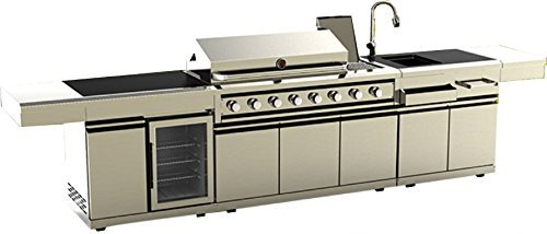 MCP Island Grills Modular 3 Piece Island Electric and Propane or Natural Gas BBQ Outdoor Grill Kitchen, with Wine Refrigerator, Sink, Rotisserie, Black Marble Top and Free Protective Canvas Cover Grills Propane