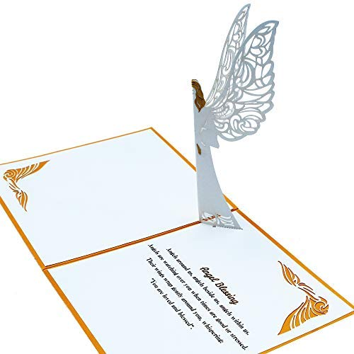 Dekali Designs Guardian Angel Pop up Card - 3D Angel Card for Sympathy, Christmas, Easter, Get Well Soon Card, Funeral, Bereavement, Memorial - Popup Plus Angel Blessing Inspirational Quote/Prayer