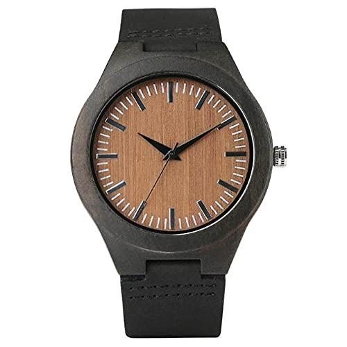 GIPOTIL Men Wooden Watches Retro Ebony Wood Case Green Dial Handmade Engraved Scale Casual Military Sports Clock Man Quartz Wrist Watch,Ebony Wood