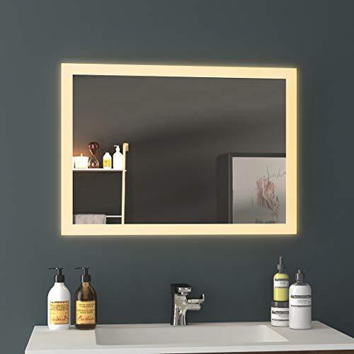 EMKE LED Badspiegel Badezimmerspiegel mit Beleuchtung Warmweissen Lichtspiegel Wandspiegel 1