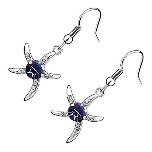 GWG Jewellery Pendientes Mujer Regalo Pendientes, Colgantes Chapados en Plata de Ley Estrella de Mar Embellecida con Cristal Redondo Colorado en Centre para Mujeres