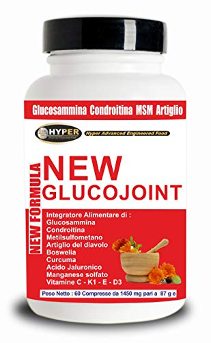 Hyper New Glucojoint Miscele con Glucosamina Condroitina msm Acido Ialuronico Artiglio del Diavolo Curcuma - 60 Compresse