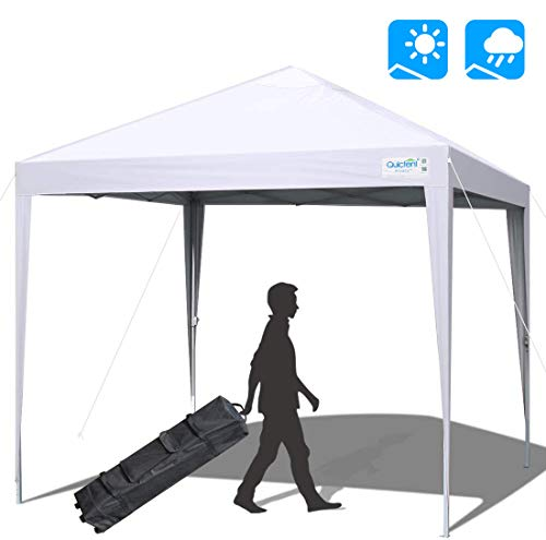 Quictent Upgraded 10x10 Ez Pop up Canopy Tent Portable Gazebo Outdoor Instant Canopy Shelter Waterproof with Wheeled Carry Bag -White