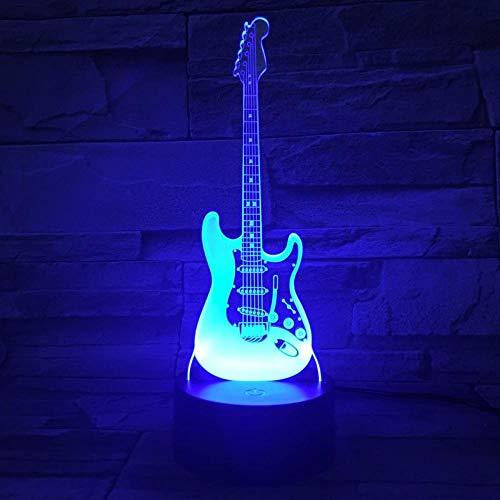 Lámpara de ilusión LED 3D Luz de noche EASEHOME Óptica de noche Luces de noche Iluminando la lámpara de los 7 Color cambiante botón táctil 1 5 m USB Cable decoración escritorio Lámparas guitarra
