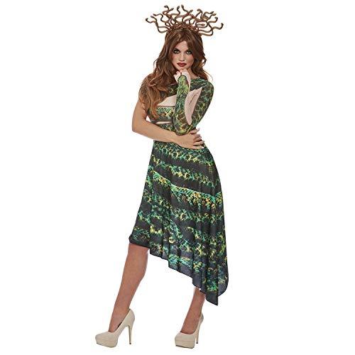 NET TOYS Impresionante Disfraz Medusa con Adornos de Serpiente - Verde-Negro M (ES 40/42) - Llamativa Vestimenta para Dama Vestido Diosa Griega - Insuperable para Festival y Carnaval