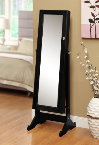 eHomeProducts Black Mirrored Jewelry Cabinet Amoire W Stand Mirror Rings, Necklaces, Bracelets