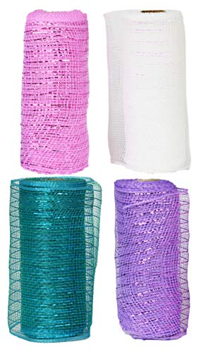 Set of 4 Decorative Mesh Rolls! 4 Assorted Easter Themed Colors! - 6' Wide x 5 Yards Long! Great for Easter Wreath, Floral Arrangements, Easter Party Decorating!