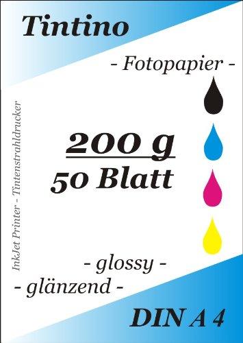 50 Blatt Fotopapier DIN A4 200g/qm high -glossy glaenzend -sofort trocken -wasserfest-hochweiß-sehr hohe Farbbrillianz, fuer InkJet Drucker Tintenstrahldrucker von Tintino