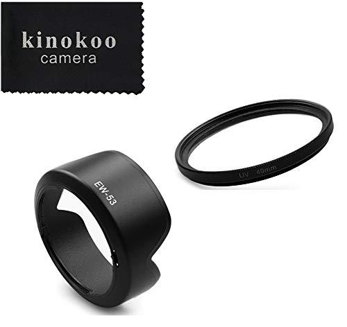 kinokoo 49 mm UV-filter Cameralens Accessoireset voor Canon EOS M50 / M100 / M10 / M6, Beschermend UV-filter + Canon EF-M15-45mm F3.5-6.3 IS STM Lens Omkeerbare zonnekapkit/lensschaduwset (A)