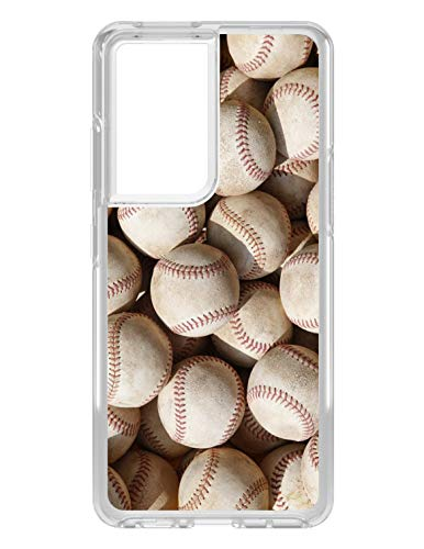 DistinctInk Clear Shockproof Hybrid Case for Samsung Galaxy S21 Ultra (6.8' Screen) - TPU Bumper, Acrylic Back, Tempered Glass Screen Protector - Old Baseballs - Show Your Love of Baseball