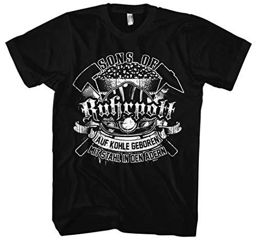 Sons of Ruhrpott Männer Herren T-Shirt | Ruhrgebiet Revier Glück auf Bergbau Kumpel Fussball | M11 (3XL, Schwarz)