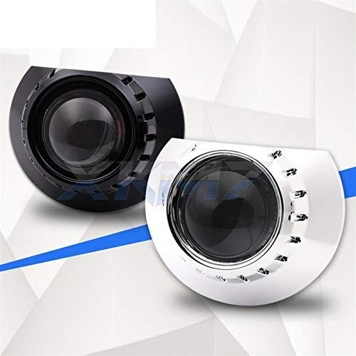 Angel Eyes Auto Scheinwerfer Scheinwerferlinsen Tuning for BMW E46 M3 Coupe/Limousine/Waggon/Cabrio 325i 328i 330i 320i Bi-Xenon-Objektiv H7 Projektor Zubehör (Color : With Black Shrouds)