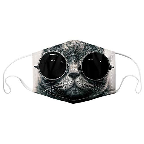 Lomelomme Mund und Nasenschutz mit Motiv Katze, Unisex Mundschutz Waschbar Multifunktionstuch Atmungsaktiv Stoff Lustig 3D Staubschutz Bandana Halstuch