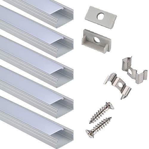 Profil LED 6x100cm für 16mm breite Light Strip, U-förmiges LED Strip Channel System mit Abdeckung, Endkappen und Montageclips