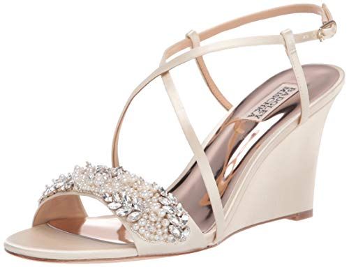 Badgley Mischka Women's Clarisa Wedge Sandal, Ivory, 10 M US
