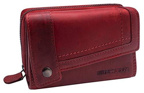Hill Burry Cartera de Cuero para Mujer | Billetera - Monedero de Cuero Genuino con Aspecto Vintage | Mujeres - Hombre | XXL Compacto Grande Capacidad (Rojo)