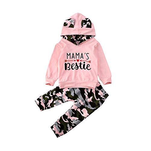 Toddler Baby Girl Fall Winter Clothes Mamas Bestie Hoodie Sweatshirt Tops & Camo Pants Outfits Clothing Sets (Pink Camo, 18-24 Months)