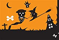 Qinunipoto 背景布 ハロウィン 写真撮影用 happy halloween 黄色の背景 ゴースト メニスカス 墓地 ハウス 写真背景 写真の背景 背景幕 無反射布 写真 写真ブース撮影 写真館 小道具 ビニール 1.5x1m