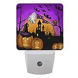 Vdsrup Halloween Pumpkins Ghost Night Light Set of 2 Castle Bats Owl Plug-in LED Nightlights Auto Dusk-to-Dawn Sensor Lamp for Bedroom Bathroom Kitchen Hallway Stairs