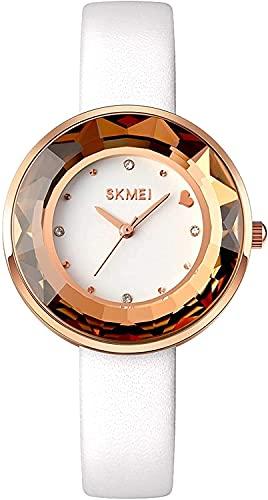 Reloj de Lujo de Cuarzo de la Dama de Lujo diseño de Las señoras de Las señoras del corazón Relojes de Pulsera de Las Mujeres Reloj de Vestido Brillante Femenino (Color: Blanco) (Color : White)