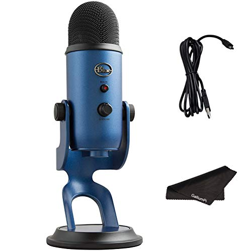 Newest Blue Yeti USB Microphone with 4 Pickup Patterns, 3 Condenser Capsules, Mic Gain Control, Adjustable Stand for Gaming, Streaming, Podcasting on PC & Mac, Midnight blue with GalliumPi Accessories