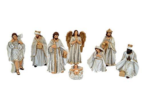 Aurora Store Set Natività Bianca Presepe Statuine in Resina con 8 soggetti Personaggi da h. 16 cm...